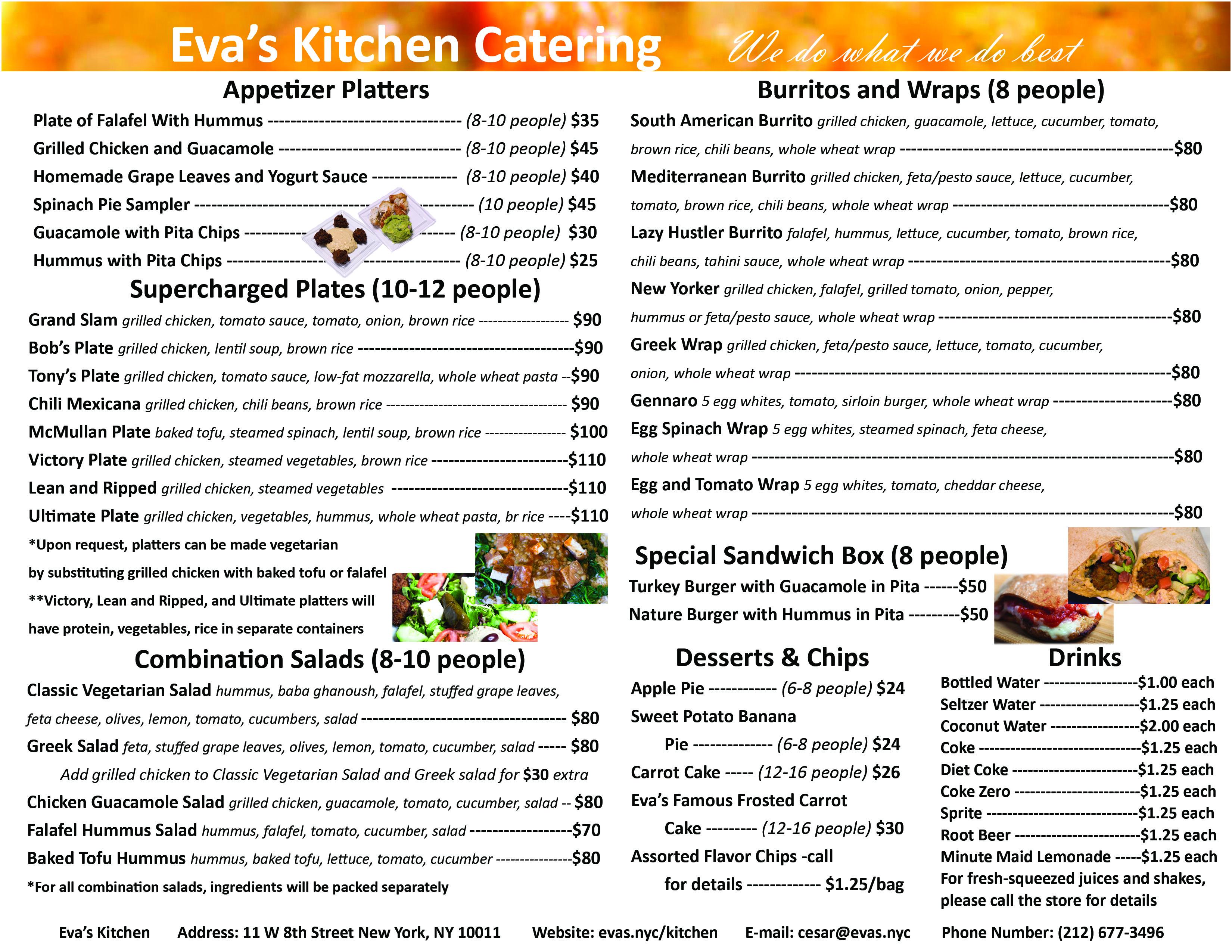 Eva's Catering Menu